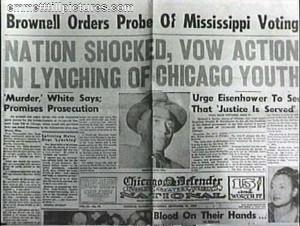 Emmett Till Murder Front Page Newspaper